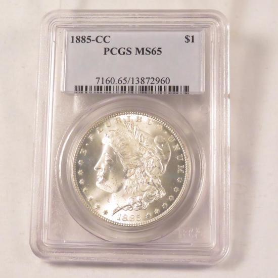 1885 CC Morgan Silver Dollar PCGS Graded MS65