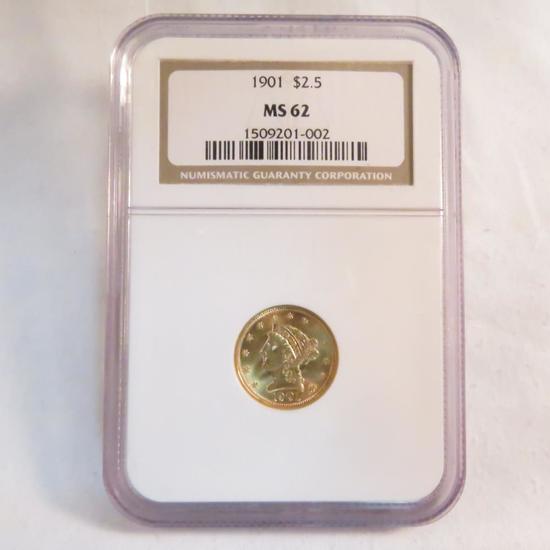 1901 $2 1/2 Gold Liberty Head NGC Graded MS62