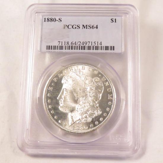 1880 S Morgan Silver Dollar PCGS Graded MS64