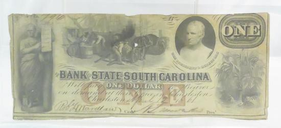 1861 Bank State South Carolina $1 Note- obsolete