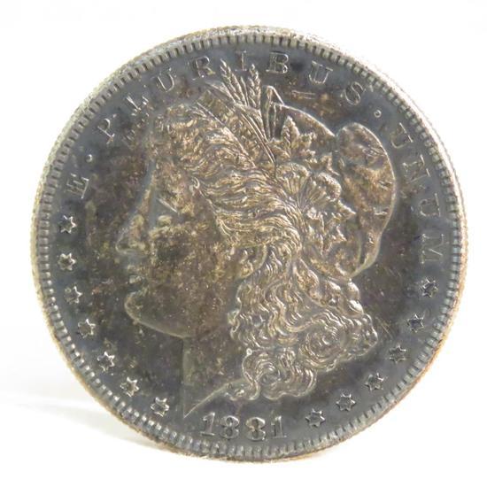 1881 S Morgan Silver Dollar UNC dark toned