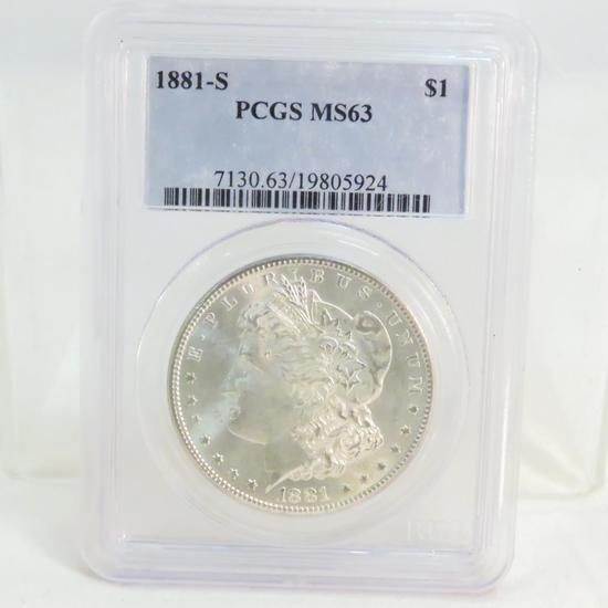 1881 S Morgan Silver Dollar PCGS Graded MS64