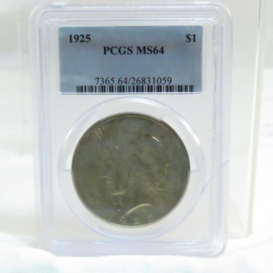 1925 Peace Silver Dollar PCGS graded MS64