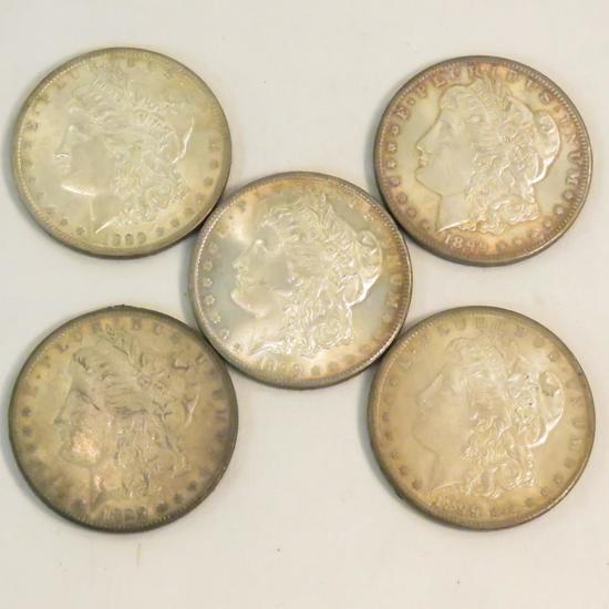 5 Date Varieties of 1899 O Morgan Silver Dollars