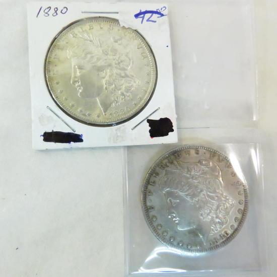 2 1880 Morgan Silver Dollars