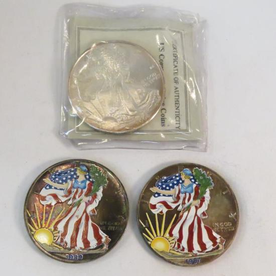 3 American Silver Eagles - 1987 & 1989 colorized