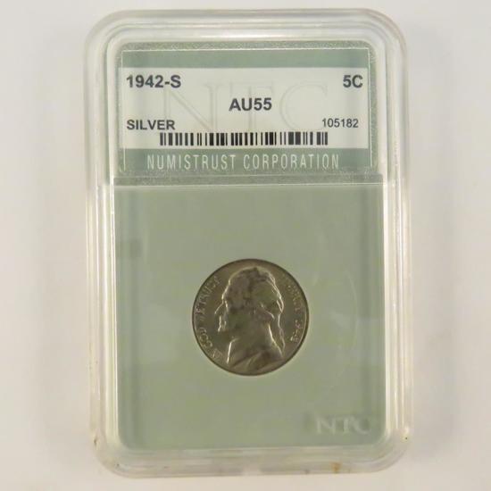 1942 S Silver Jefferson War Nickel AU55