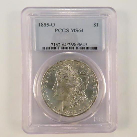 1885 O Morgan Silver Dollar PCGS Graded MS64