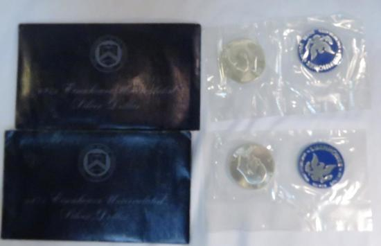 2 1971 Blue Ike's - UNC Eisenhower Dollars