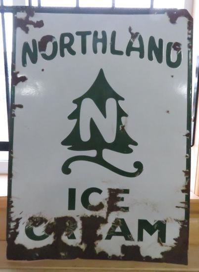 Vintage Northland Ice Cream Enamel Sign