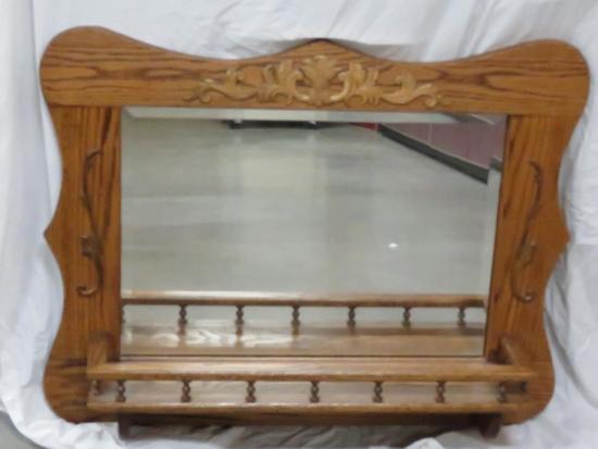 Oak Framed Wall Mirror With Shelf