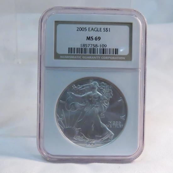 2005 American Silver Eagle NGC Graded MS69