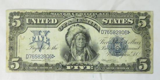 1899 $5 Silver Certificate Chief One Papa
