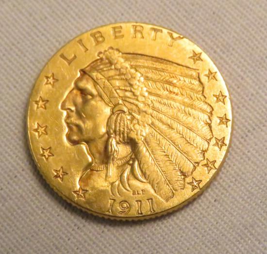 1911 2 1/2$ Gold Indian Head Quarter Eagle