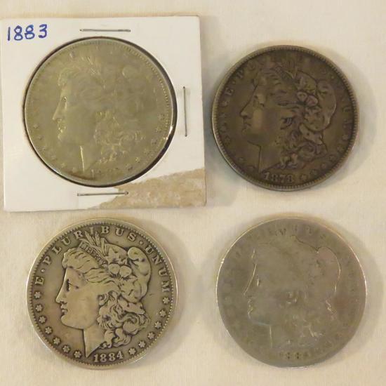4 Morgan Silver Dollars 1878, 1883, 1884, 1885 O