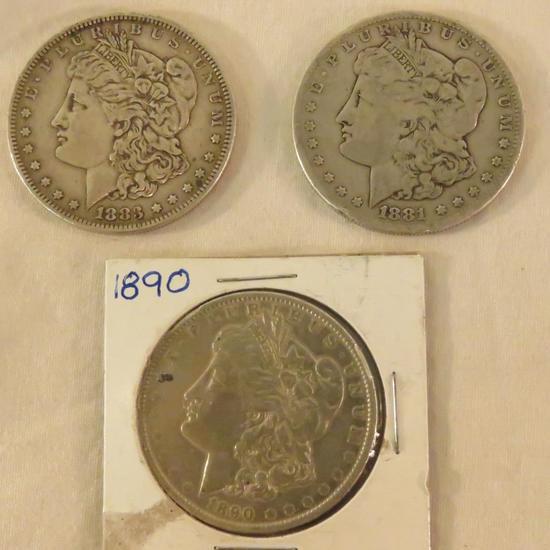 3 Morgan Silver Dollars 1883, 1884 S, 1890