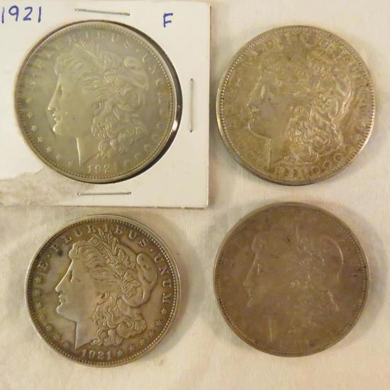 4 Morgan Silver Dollar 1921 P,D,D,S