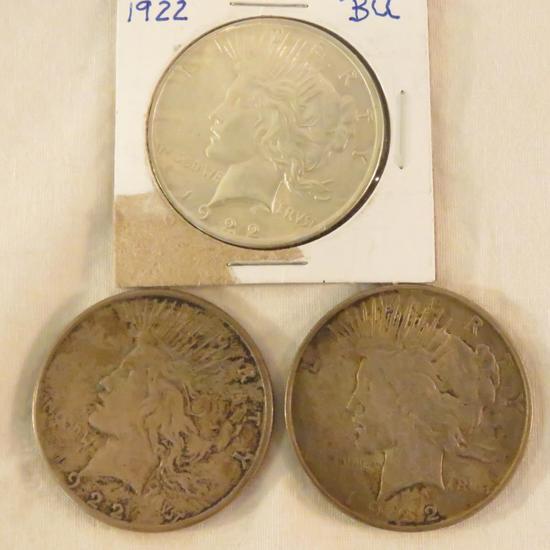 3 1922 Peace Silver Dollars