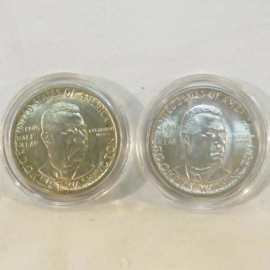 2 1946 Booker T Washington Half Dollars BU