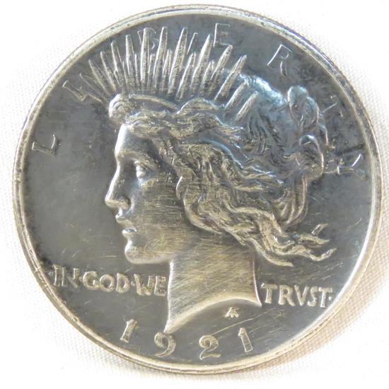 1921 Peace Silver Dollar dark toned key date