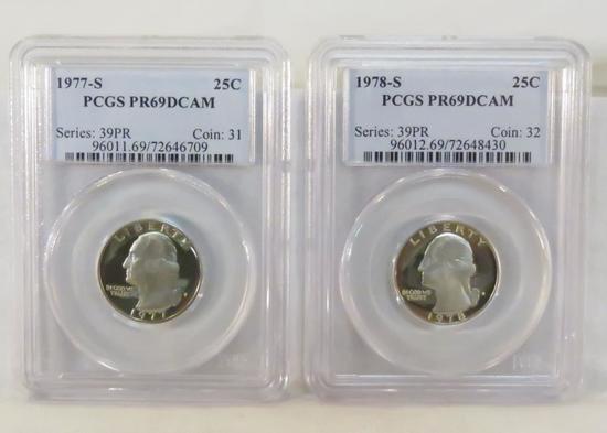 1977 S & 1978 S Washington Quarters PCGS PR69DCAM