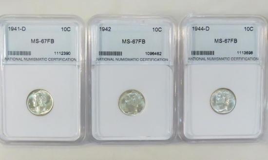 1941D, 42, 44D NNC graded MS-67FB Mercury Dimes