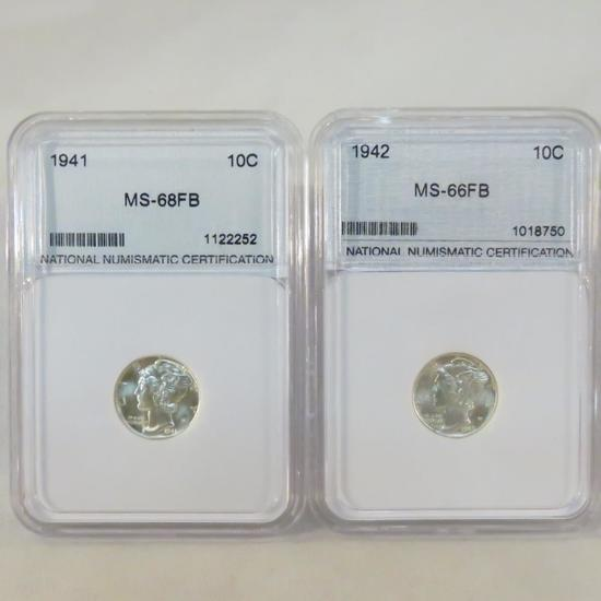 1941 & 1942 NNC Graded MS-66FB Mercury Dimes