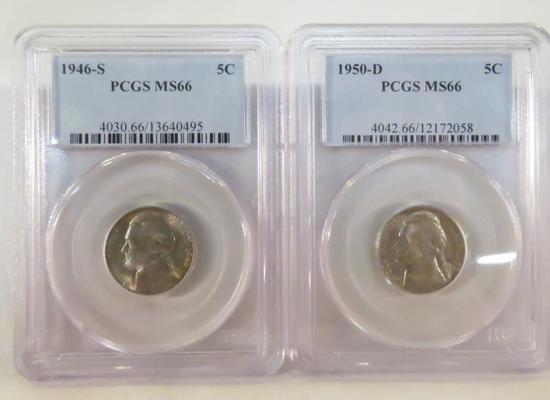 1950 D & 1946 S Jefferson Nickels PCGS Graded MS66
