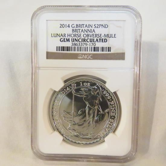 2014 G Britain Silver 2 Pound NGC Gem Uncirculated