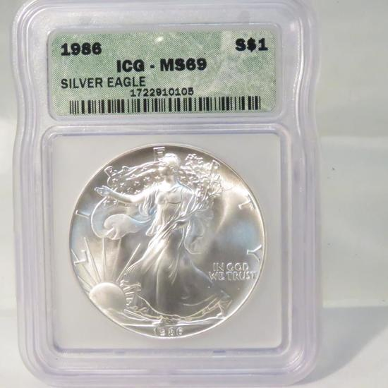1986 American Silver Eagle ICG Graded MS69