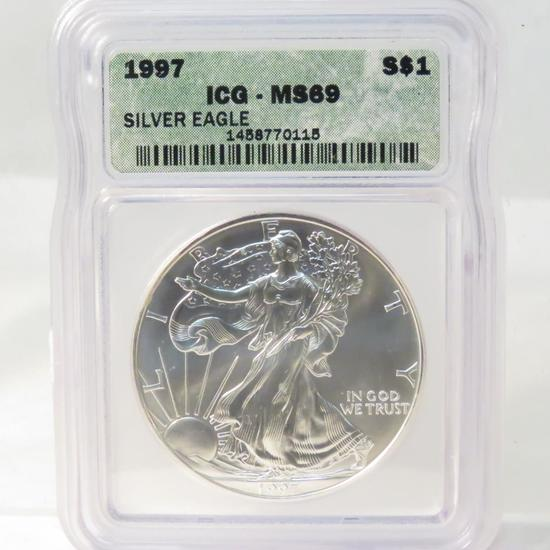 1997 American Silver Eagle ICG Graded MS69