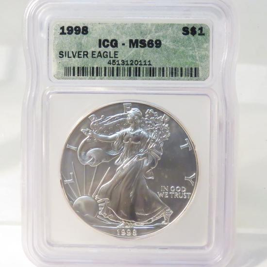 1998 American Silver Eagle ICG Graded MS69