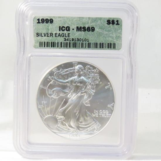 1999 American Silver Eagle ICG Graded MS69