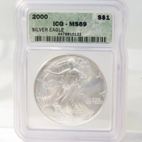 2000 American Silver Eagle ICG Graded MS69