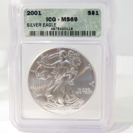 2001 American Silver Eagle ICG Graded MS69