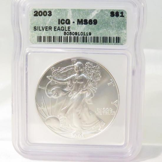 2003 American Silver Eagle ICG Graded MS69