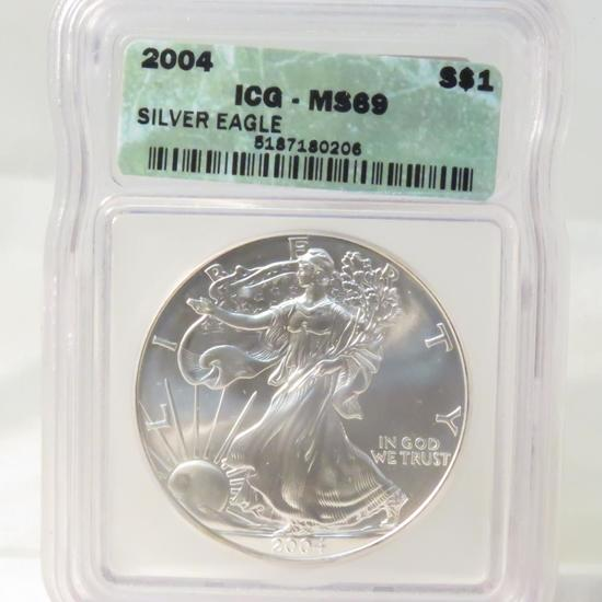 2004 American Silver Eagle ICG Graded MS69