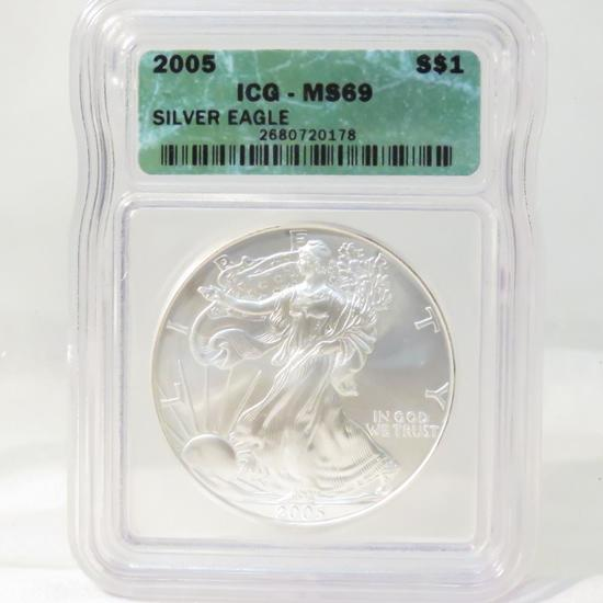 2005 American Silver Eagle ICG Graded MS69