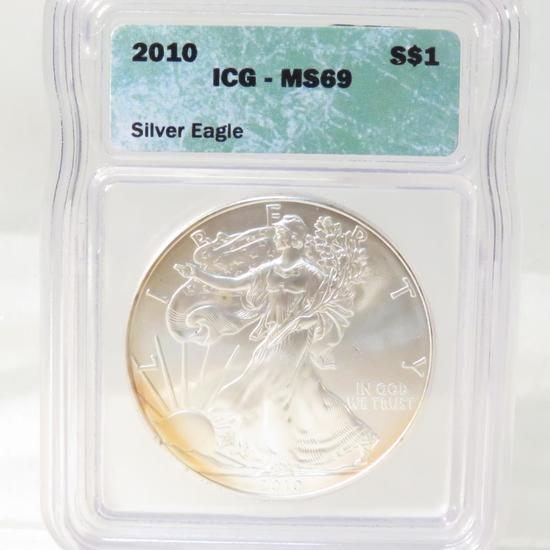 2010 American Silver Eagle ICG Graded MS69