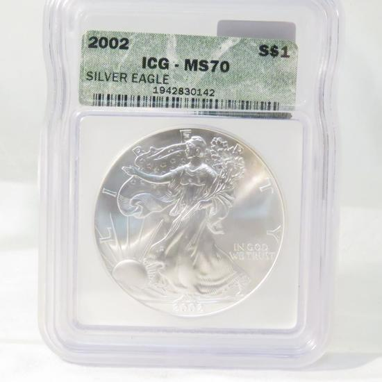 2002 American Silver Eagle ICG Graded MS70