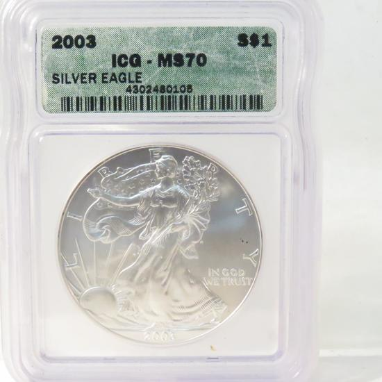 2003 American Silver Eagle ICG Graded MS70