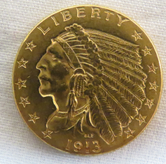 1913 $2 1/2 Gold Indian Head Quarter Eagle