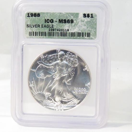 1988 American Silver Eagle ICG Graded MS69