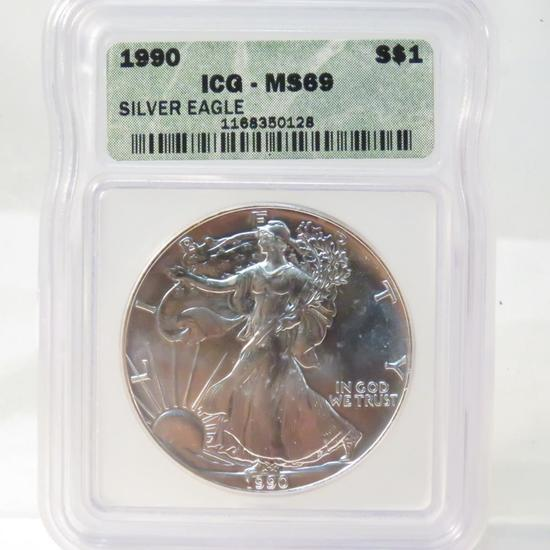 1990 American Silver Eagle ICG Graded MS69