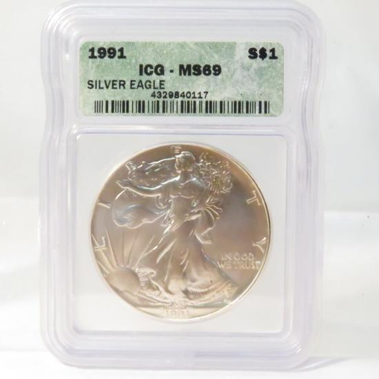 1991 American Silver Eagle ICG Graded MS69