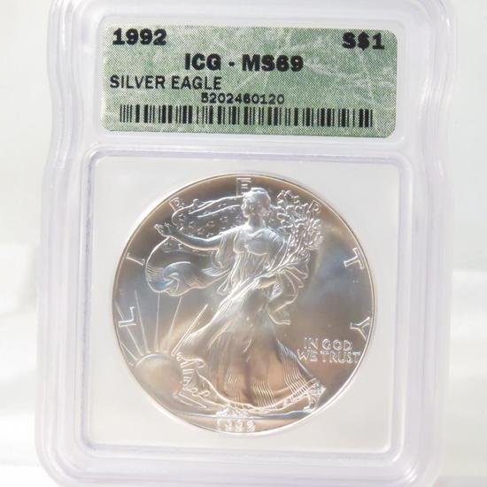 1992 American Silver Eagle ICG Graded MS69