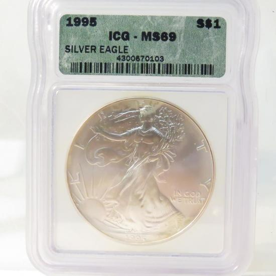 1995 American Silver Eagle ICG Graded MS69