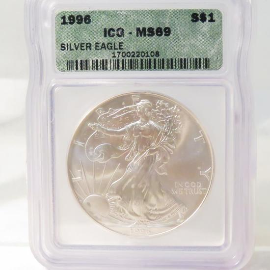 1996 American Silver Eagle ICG Graded MS69