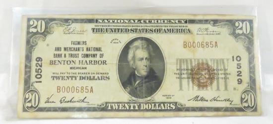 1929 $20 National Currency Benton Harbor MI Note