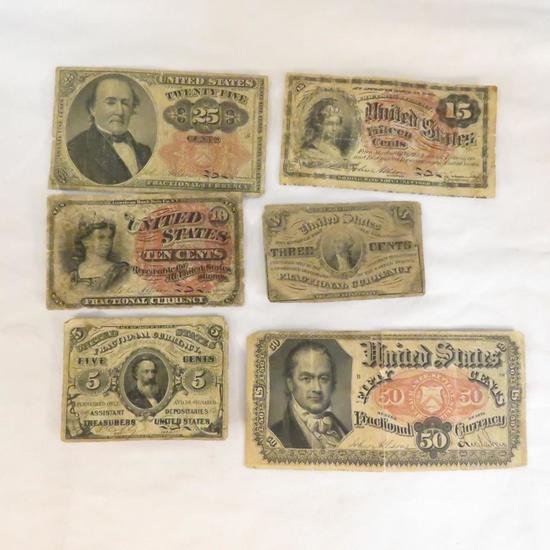 US Fractional Currency 3¢, 5¢, 10¢, 15¢, 25¢, 50¢